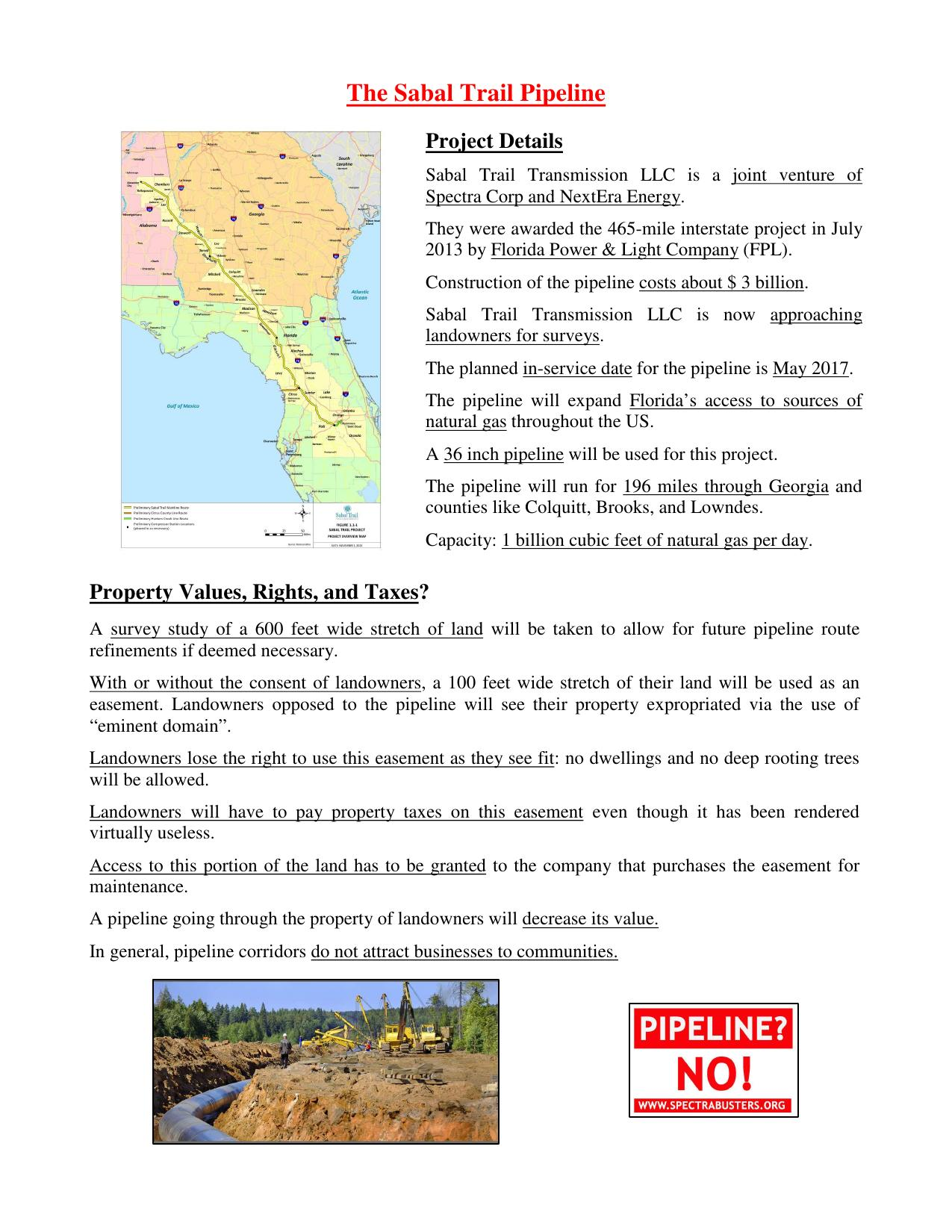 1275x1650 Project Details and Property Values, in Flyer: The Sabal Trail Pipeline, by Michael G. Noll, for SpectraBusters.org, 2 March 2014
