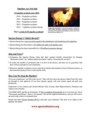 300x388 Safety, Jobs, and Taxes; How Can We Stop the Pipeline?, in Flyer: The Sabal Trail Pipeline, by Michael G. Noll, for SpectraBusters.org, 2 March 2014