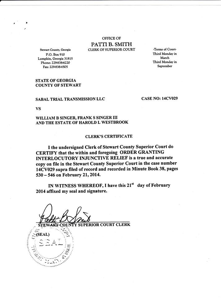 713x960 Stewart County Clerk Certificate, in Sabal Trail citing Stewart County injunction in Brooks County, Georgia, by John S. Quarterman, for SpectraBusters.org, 12 April 2014