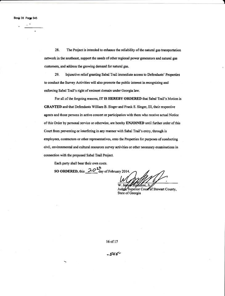 730x960 Stewart County court order, in Sabal Trail citing Stewart County injunction in Brooks County, Georgia, by John S. Quarterman, for SpectraBusters.org, 12 April 2014