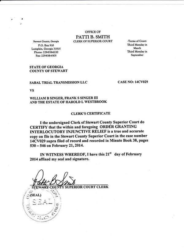 600x808 Stewart County Clerk Certificate, in Sabal Trail citing Stewart County injunction in Brooks County, Georgia, for SpectraBusters.org
