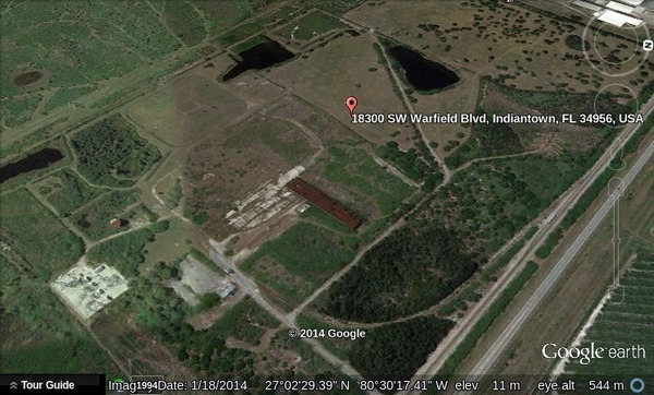 600x362 18300 SW Warfield Blvd in google-earth, in Where are Floridian LNG and FLiNG Energy?, by John S. Quarterman, for SpectraBusters.org, 22 May 2014