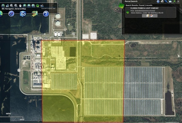 600x405 FPL Power Plant, 21900 SW Warfield Blvd., in Where are Floridian LNG and FLiNG Energy?, by John S. Quarterman, for SpectraBusters.org, 22 May 2014