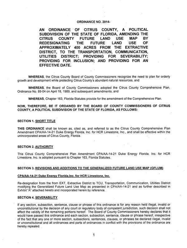 600x795 Ordinance for Comprehensive Plan Amendment, in Re-designation to TCU, Transportation, Communication, Utilities District, by Duke Energy, for SpectraBusters.org, 27 May 2014