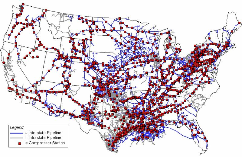 800x520 Map, in PHMSA Pipeline Compressor Station map, by PHMSA, for SpectraBusters.org, 2010