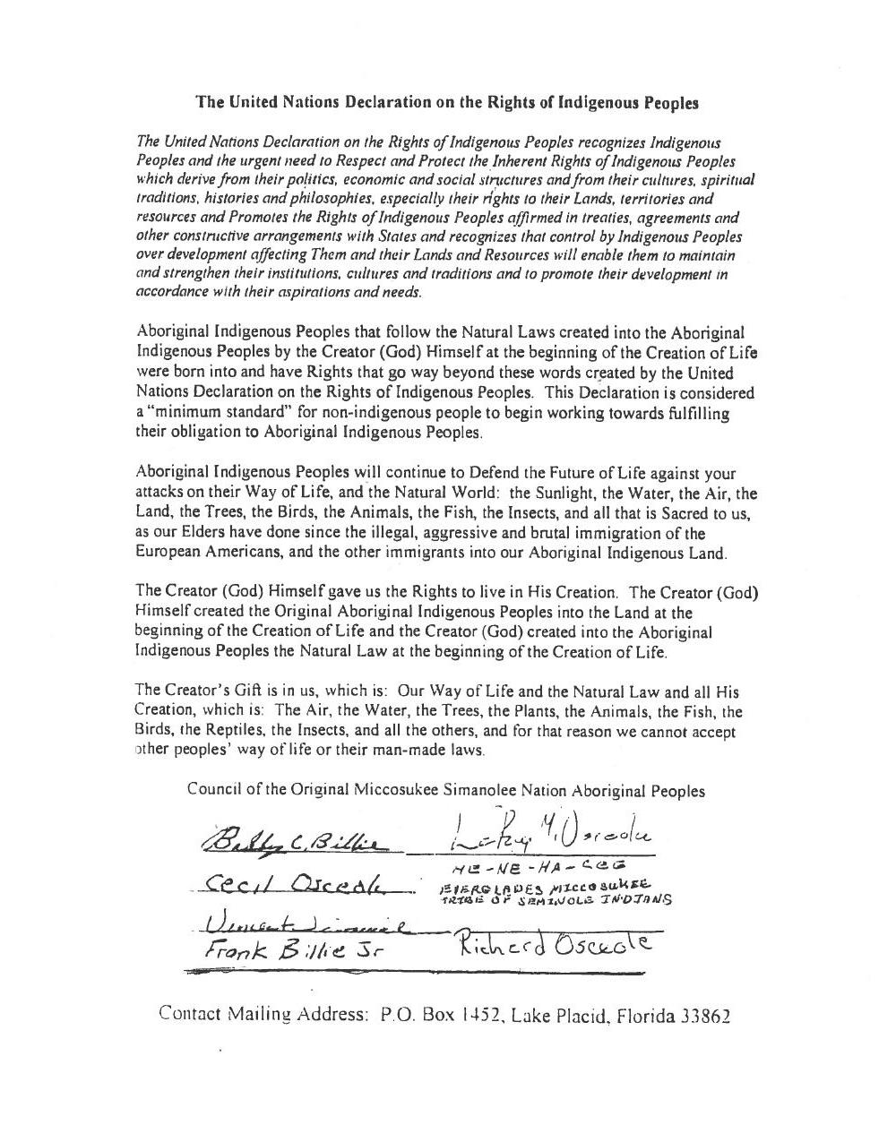 1000x1275 U.N. Declaration on the Rights of Indigenous Peoples, in Council of the Original Miccosukee Simanolee Nation, by John S. Quarterman, for SpectraBusters.org, 21 November 2013