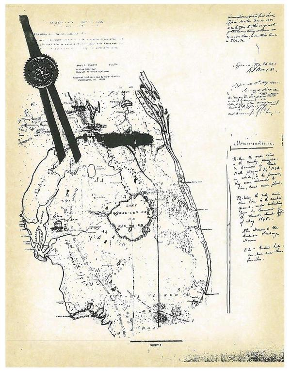 600×765 1845 original land map, in Council of the Original Miccosukee Simanolee Nation, by John S. Quarterman, for SpectraBusters.org, 21 November 2013