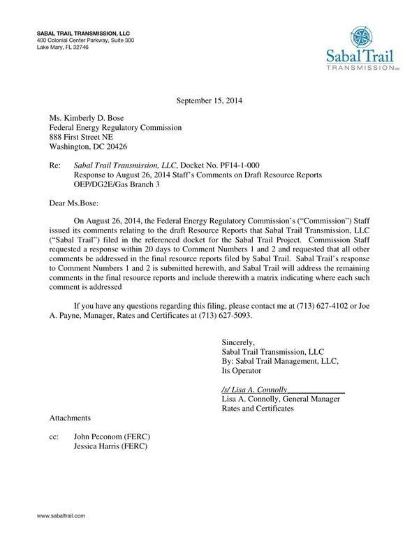 600x776 Lisa A. Connelly (STT) to John Peconom (FERC), in Response to FERC directive of 26 August 2014, by Sabal Trail Transmission, for SpectraBusters.org, 15 September 2014
