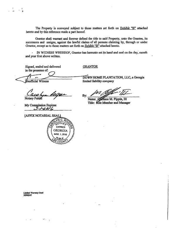 600x777 Page-09 Limited Warranty Deed, Down Home Plantation to Sabal Trail (2 of 5), in We grow increasingly concerned, by Dougherty County Commission, 25 August 2014