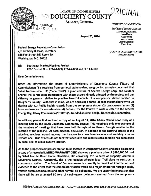 600x777 Page-01 Dougherty County Commission to FERC (1 of 2), in We grow increasingly concerned, by Dougherty County Commission, 25 August 2014