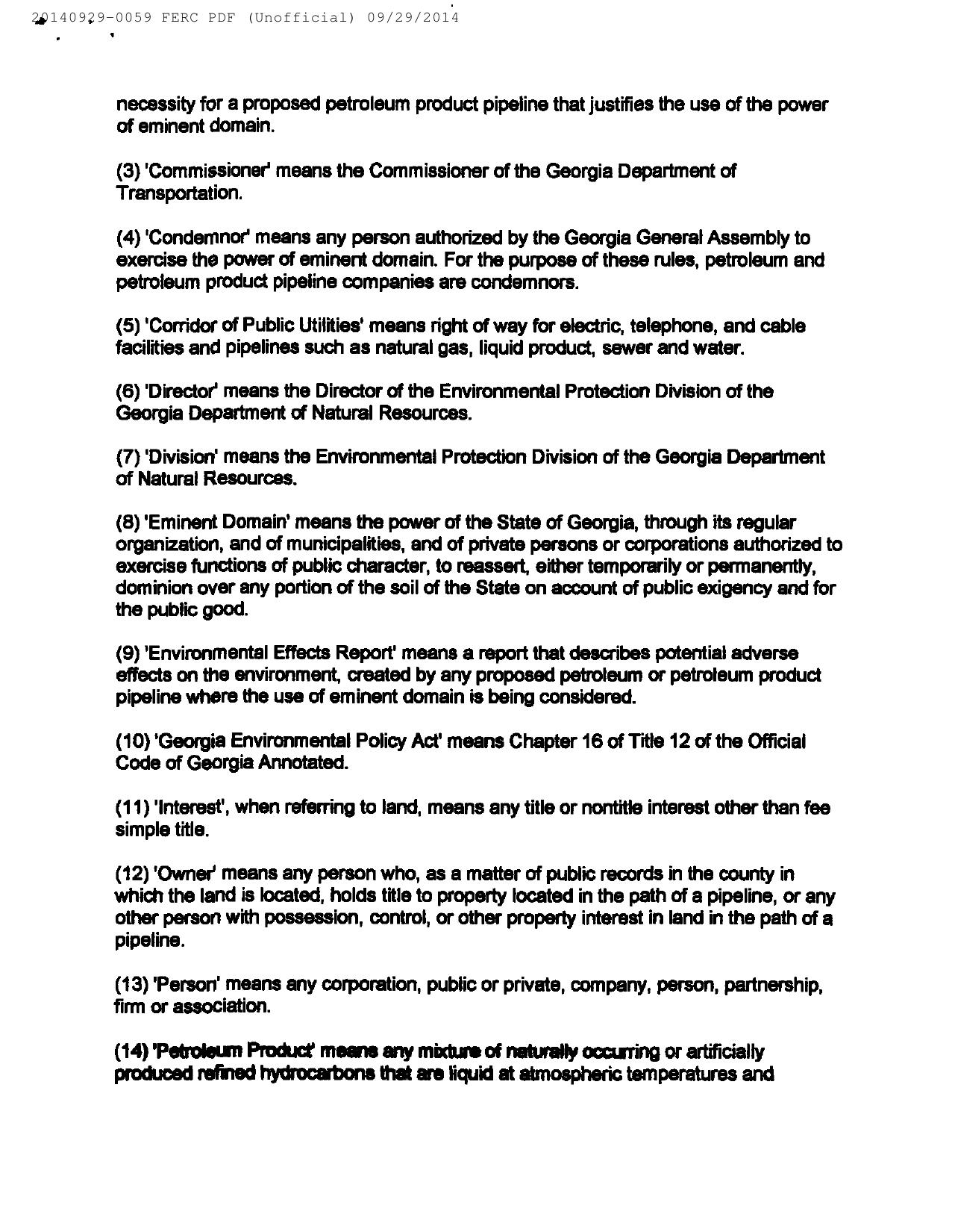 1280x1650 H: GA-EPD Petroleum Pipeline Eminent Domain Permit Procedures (2 of 6), in Resurvey all the properties, by Bill Kendall, for SpectraBusters.org, 29 September 2014