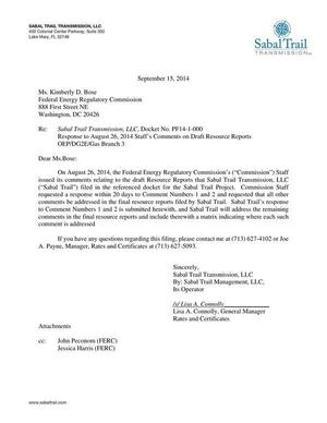 300x388 Lisa A. Connelly (STT) to John Peconom (FERC), in Response to FERC directive of 26 August 2014, by Sabal Trail Transmission, for SpectraBusters.org, 15 September 2014