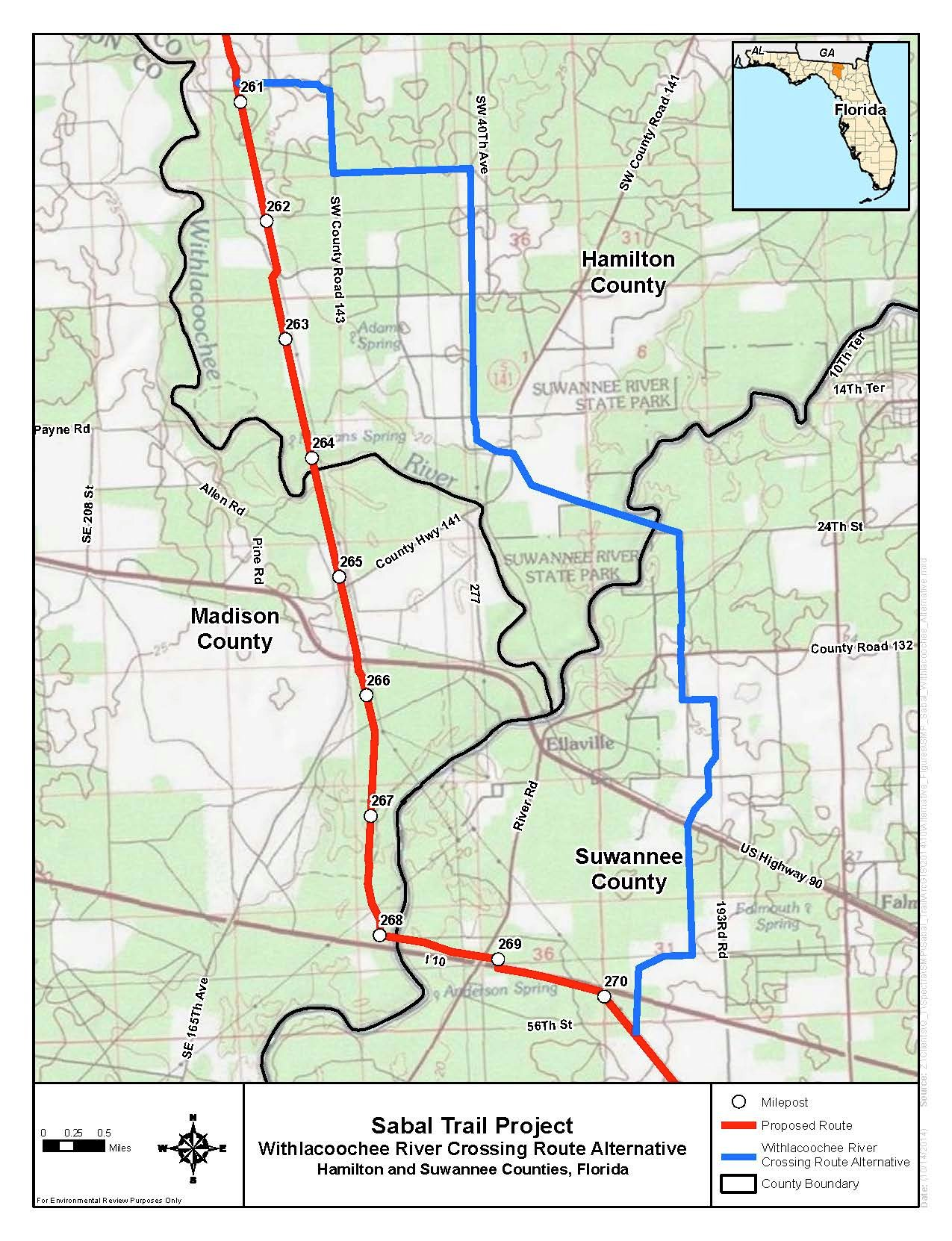 1275x1662 Withlacoochee River Crossing Route Alternative, Hamilton and Suwannee Counties, Florida, in Sabal Trail Notice of EIS Intent, by John S. Quarterman, for SpectraBusters.org, 15 October 2014