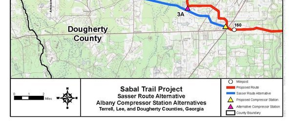 600x261 Sasser Route Alternative, Albany Compressor station Alternatives, Terrell, Lee, and Dougherty Counties. Georgia (bottom), in Sabal Trail Notice of EIS Intent, by John S. Quarterman, for SpectraBusters.org, 15 October 2014