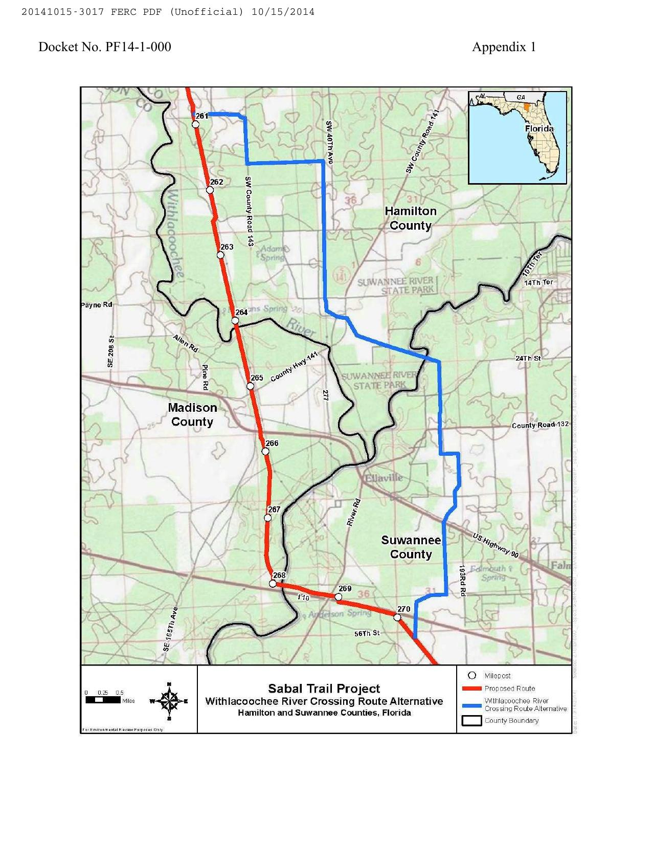 1275x1650 Withlacoochee River Crossing Route Alternative, Hamilton and Suwannee Counties, Florida, in Sabal Trail Notice of EIS Intent, by John S. Quarterman, for SpectraBusters.org, 15 October 2014