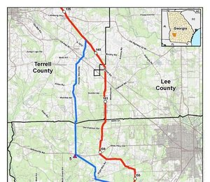 300x261 Sasser Route Alternative, Albany Compressor station Alternatives, Terrell, Lee, and Dougherty Counties. Georgia (top), in Sabal Trail Notice of EIS Intent, by John S. Quarterman, for SpectraBusters.org, 15 October 2014