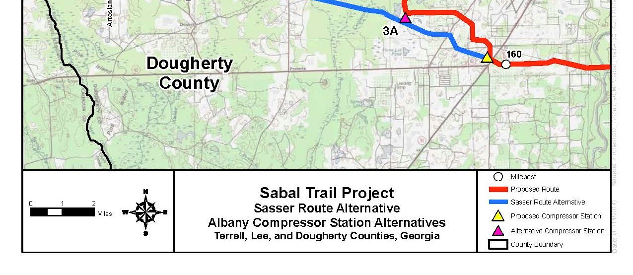 1275x554 Sasser Route Alternative, Albany Compressor station Alternatives, Terrell, Lee, and Dougherty Counties. Georgia (bottom), in Sabal Trail Notice of EIS Intent, by John S. Quarterman, for SpectraBusters.org, 15 October 2014