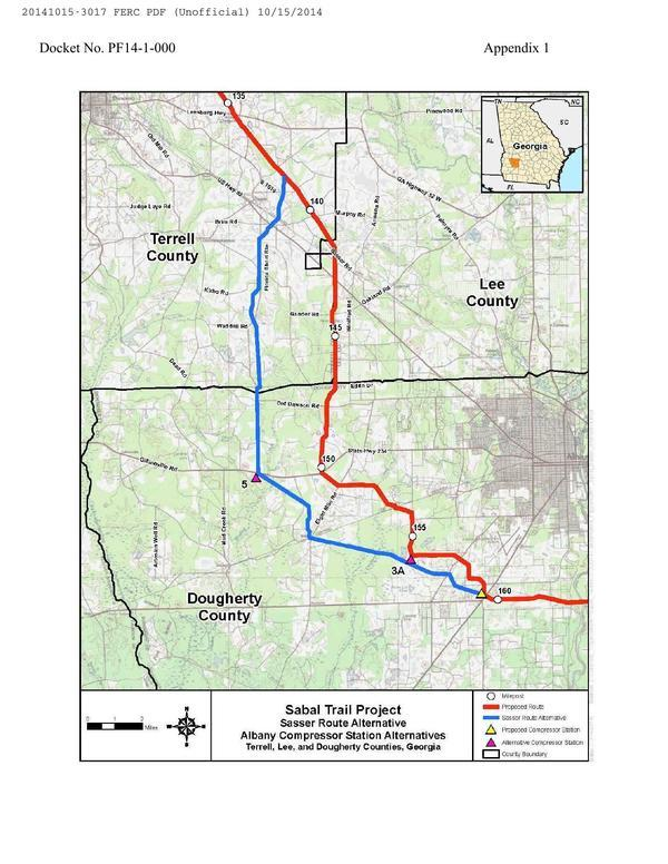 600x776 Sasser Route Alternative, Albany Compressor station Alternatives, Terrell, Lee, and Dougherty Counties. Georgia, in Sabal Trail Notice of EIS Intent, by John S. Quarterman, for SpectraBusters.org, 15 October 2014