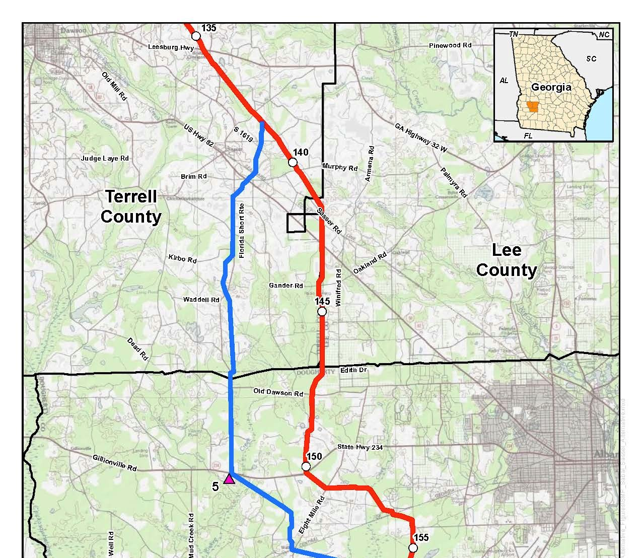 1275x1108 Sasser Route Alternative, Albany Compressor station Alternatives, Terrell, Lee, and Dougherty Counties. Georgia (top), in Sabal Trail Notice of EIS Intent, by John S. Quarterman, for SpectraBusters.org, 15 October 2014
