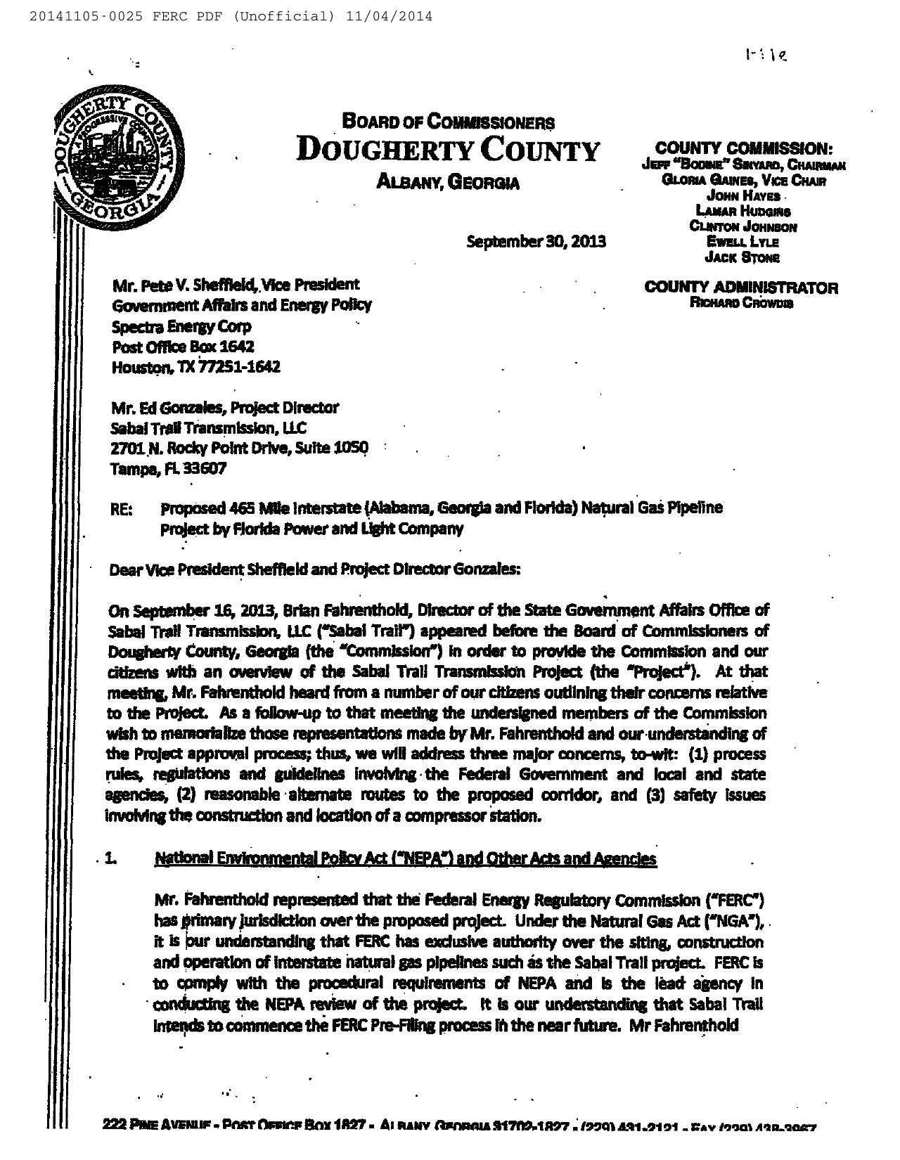 1280x1650 To Spectra 2013-09-30 (1 of 4), in Resolution No. 14-019 pipeline and compressor station, by Dougherty County Commission, for SpectraBusters.org, 5 November 2014