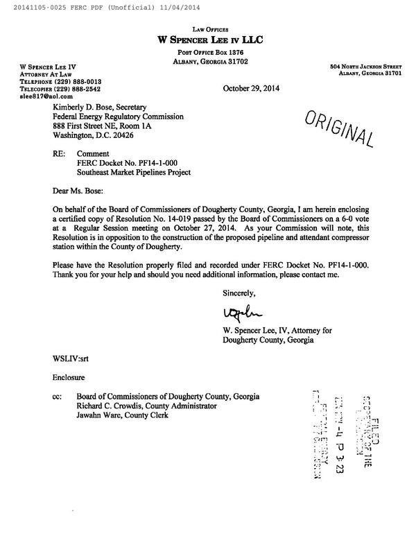 600x773 Cover letter, in Resolution No. 14-019 pipeline and compressor station, by Dougherty County Commission, for SpectraBusters.org, 5 November 2014