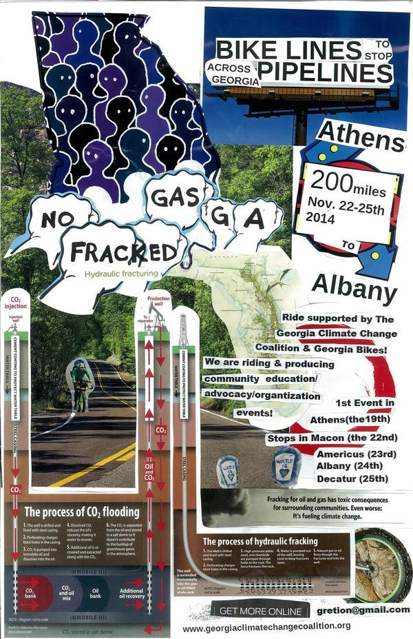 600x927 Flyer, in Bike Lines to stop Pipe Lines, by Gretchen Elsner, 21 November 2014