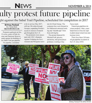 300x334 Students protesting, in Students, faculty protest future pipeline, by Brittney Penland, for SpectraBusters.org, 6 November 2014