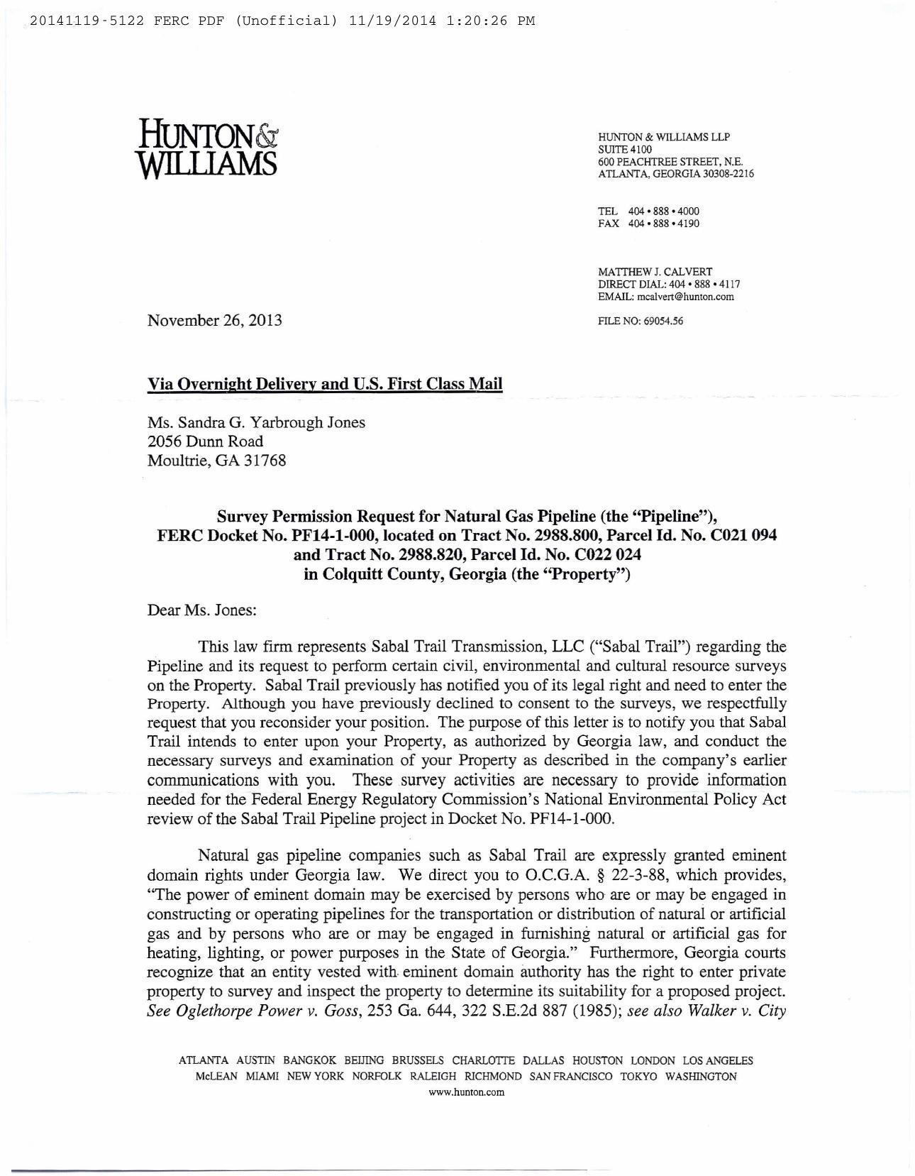 1290x1657 2013-11-26 Hunton & Williams to Sandra Jones (1 of 2), in Jones, by Sandra Jones, for SpectraBusters.org, 19 November 2014