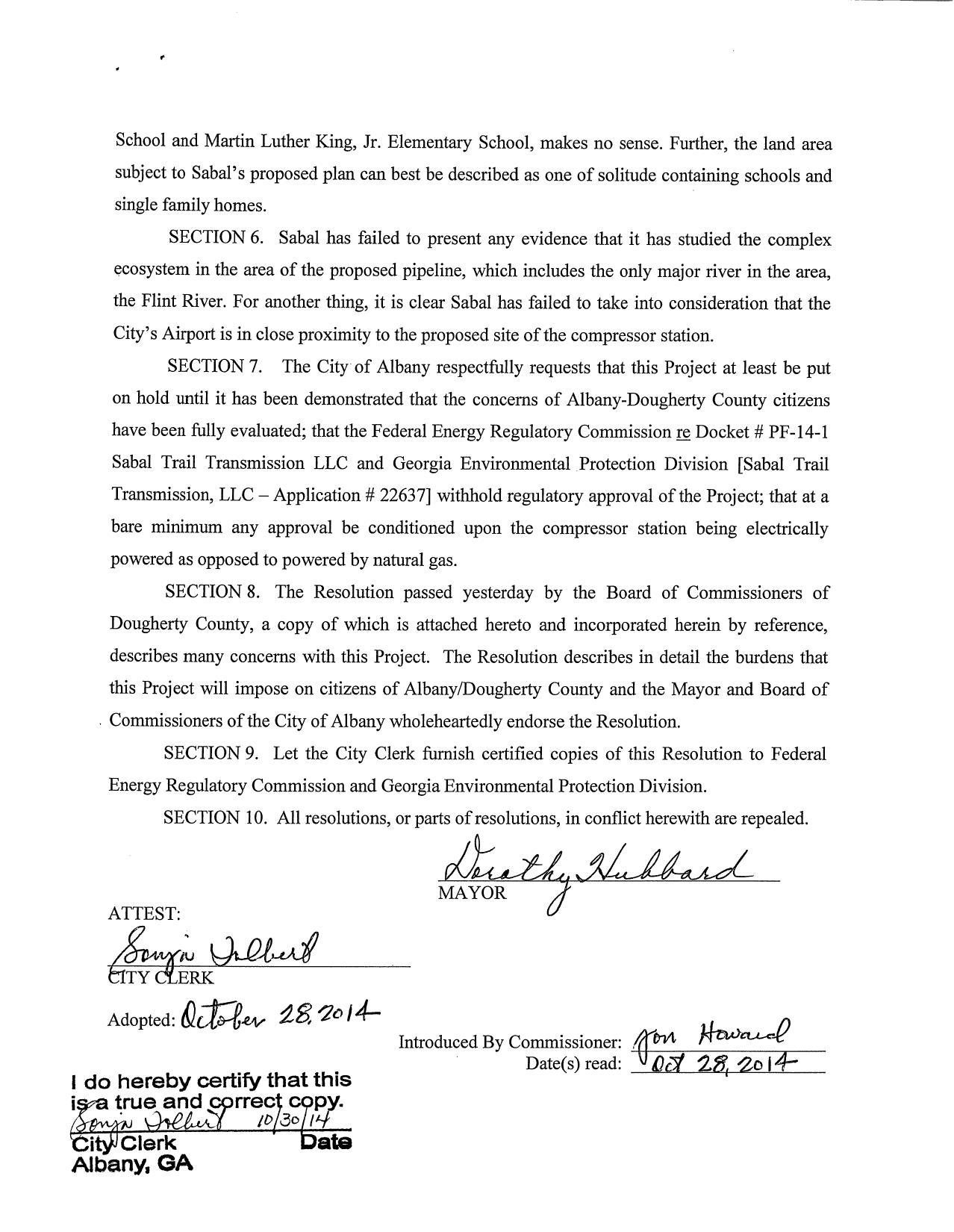 1278x1650 Albany wholeheartedly endorses Dougherty Countys Resolution, in Albany Resolution Against Sabal Trail Pipeline, by City of Albany, for SpectraBusters.org, 28 October 2014