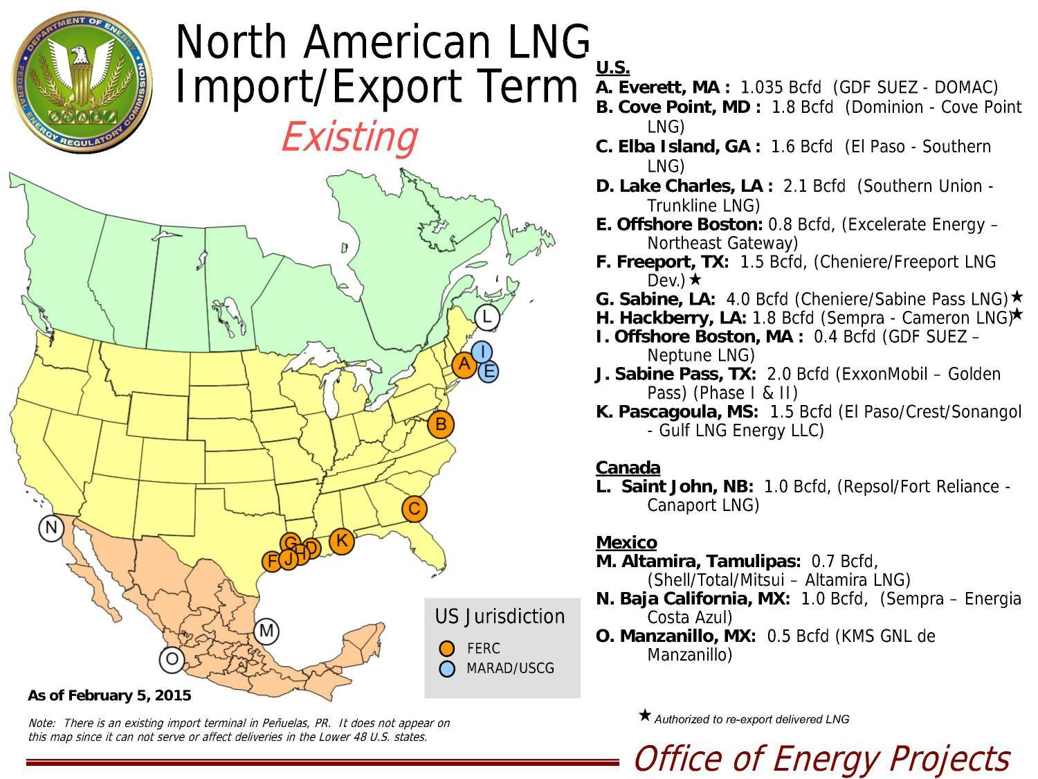 1500x1125 FERC Existing LNG Export and Import, in LNG, by John S. Quarterman, for SpectraBusters.org, 22 February 2015