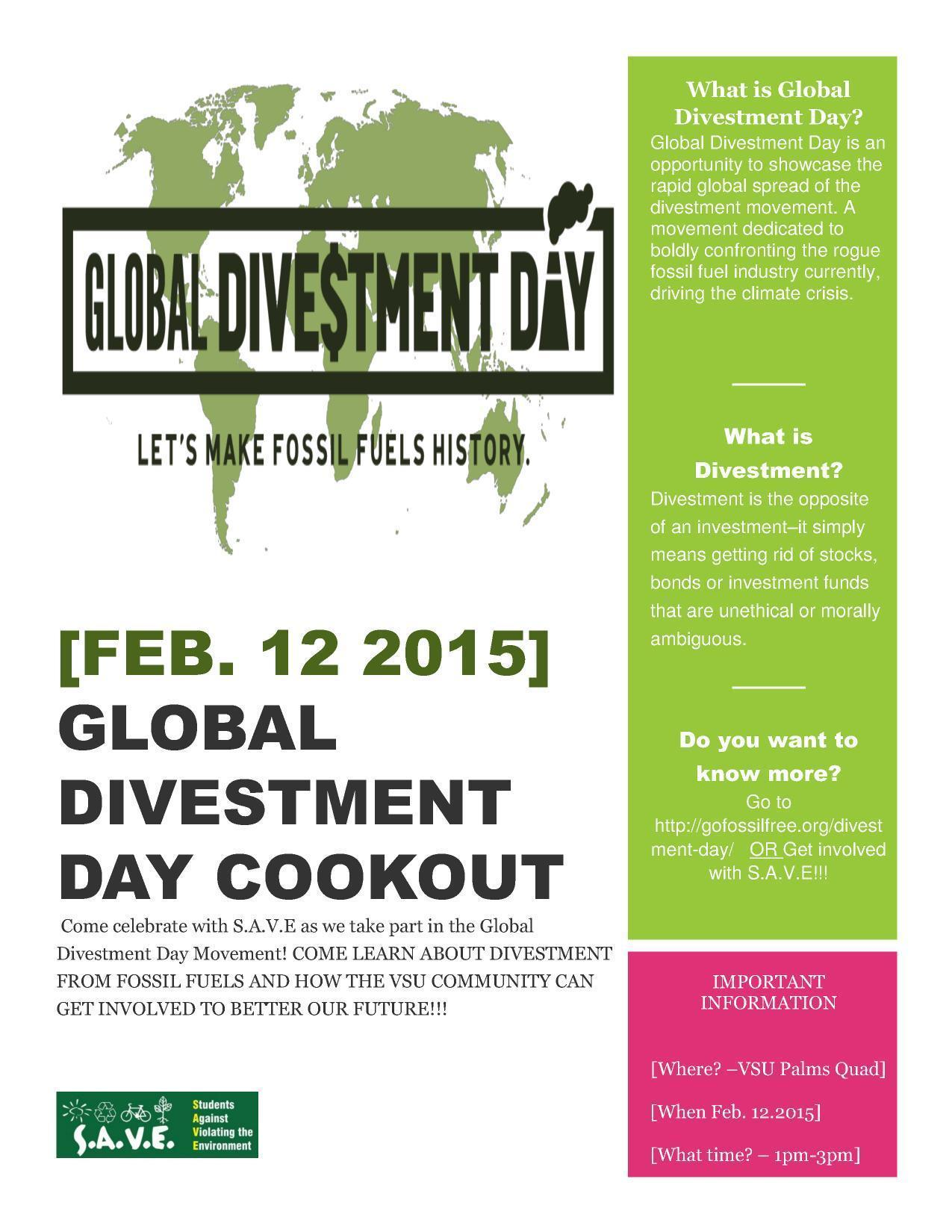 1275x1650 Flyer, in Global Divestment Day Cookout, by S.A.V.E., for SpectraBusters.org, 12 February 2015
