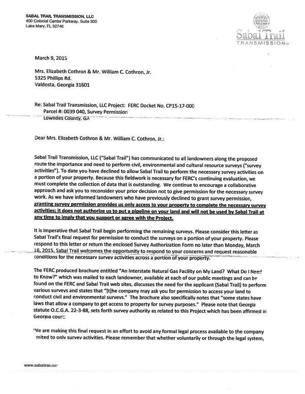 600x776 Final request, in Eminent domain final notice from Sabal Trail, by John S. Quarterman, for SpectraBusters.org, 9 March 2015
