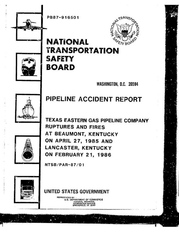 600x776 at Beaumont, Kentucky on April 27, 1985 and Lancaster, Kentucky on February 21, 1986, in Texas Eastern Gas Pipeline Company Ruptures and Fires, by John S. Quarterman, for SpectraBusters.org, 18 February 1987