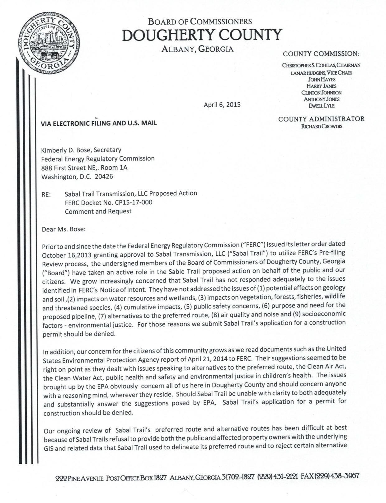 1240x1615 20150406-5144-30464227-001, in FERC still stonewalling Dougherty County Commission and landowners about Sabal Trail, by John S. Quarterman, for SpectraBusters.org, 6 April 2015