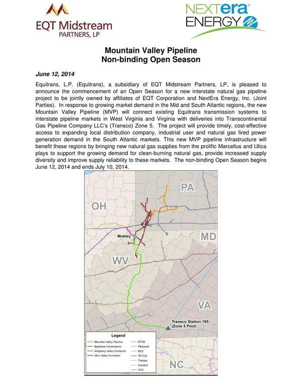 600x776 Introduction and map, in Mountain Valley Pipeline Non-binding Open Season, by EQT Midstream Partners, LLP and NextEra Energy, for SpectraBusters.org, 12 June 2014