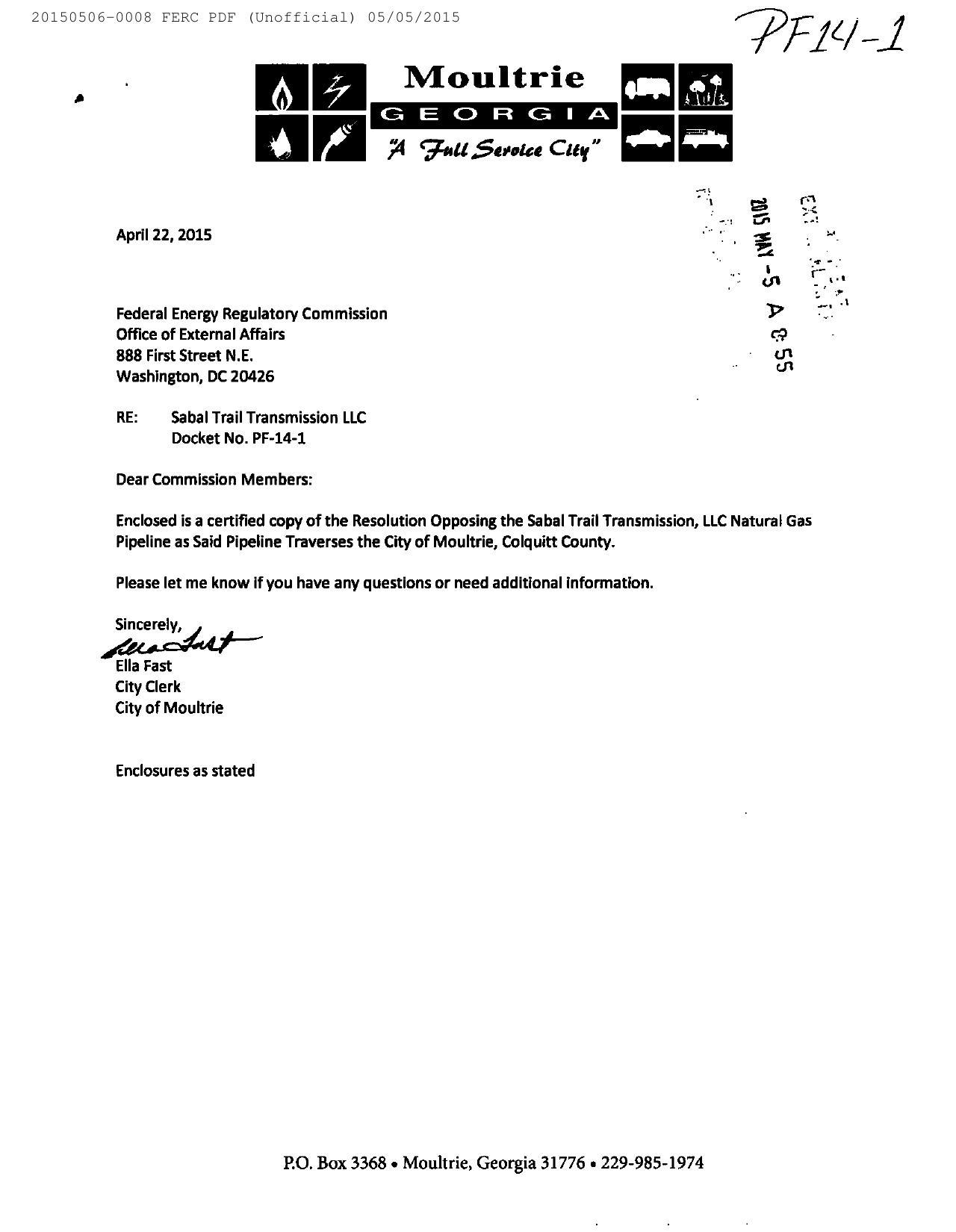 1280x1650 Cover Letter by Ella Fast, City Clerk, in Moultrie, GA resolution against Sabal Trail, by John S. Quarterman, for SpectraBusters.org, 6 May 2015