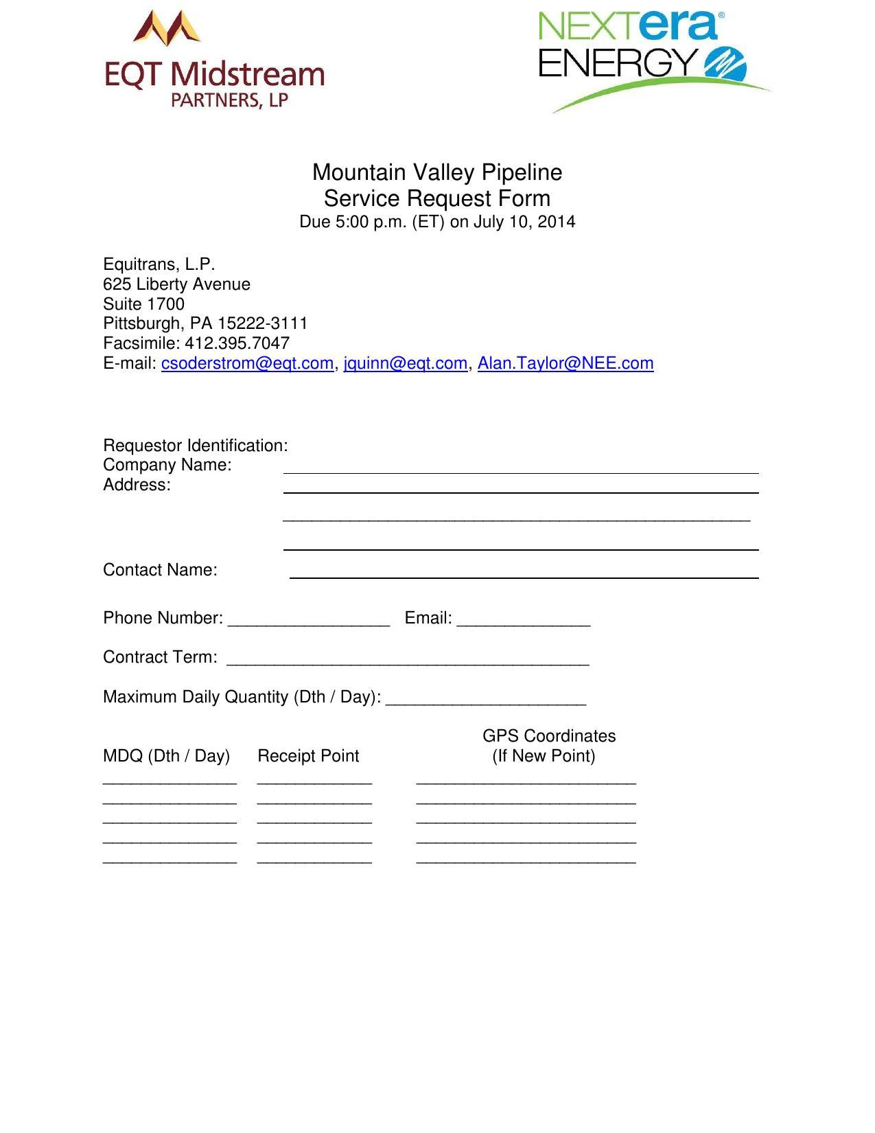 1275x1650 MVP Service Request Form (1 of 2), in Mountain Valley Pipeline Non-binding Open Season, by EQT Midstream Partners, LLP and NextEra Energy, for SpectraBusters.org, 12 June 2014