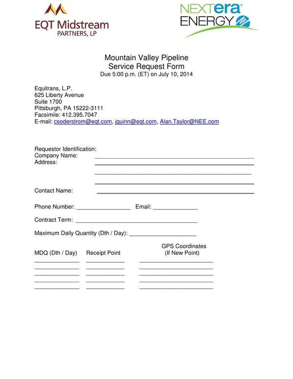 600x776 MVP Service Request Form (1 of 2), in Mountain Valley Pipeline Non-binding Open Season, by EQT Midstream Partners, LLP and NextEra Energy, for SpectraBusters.org, 12 June 2014