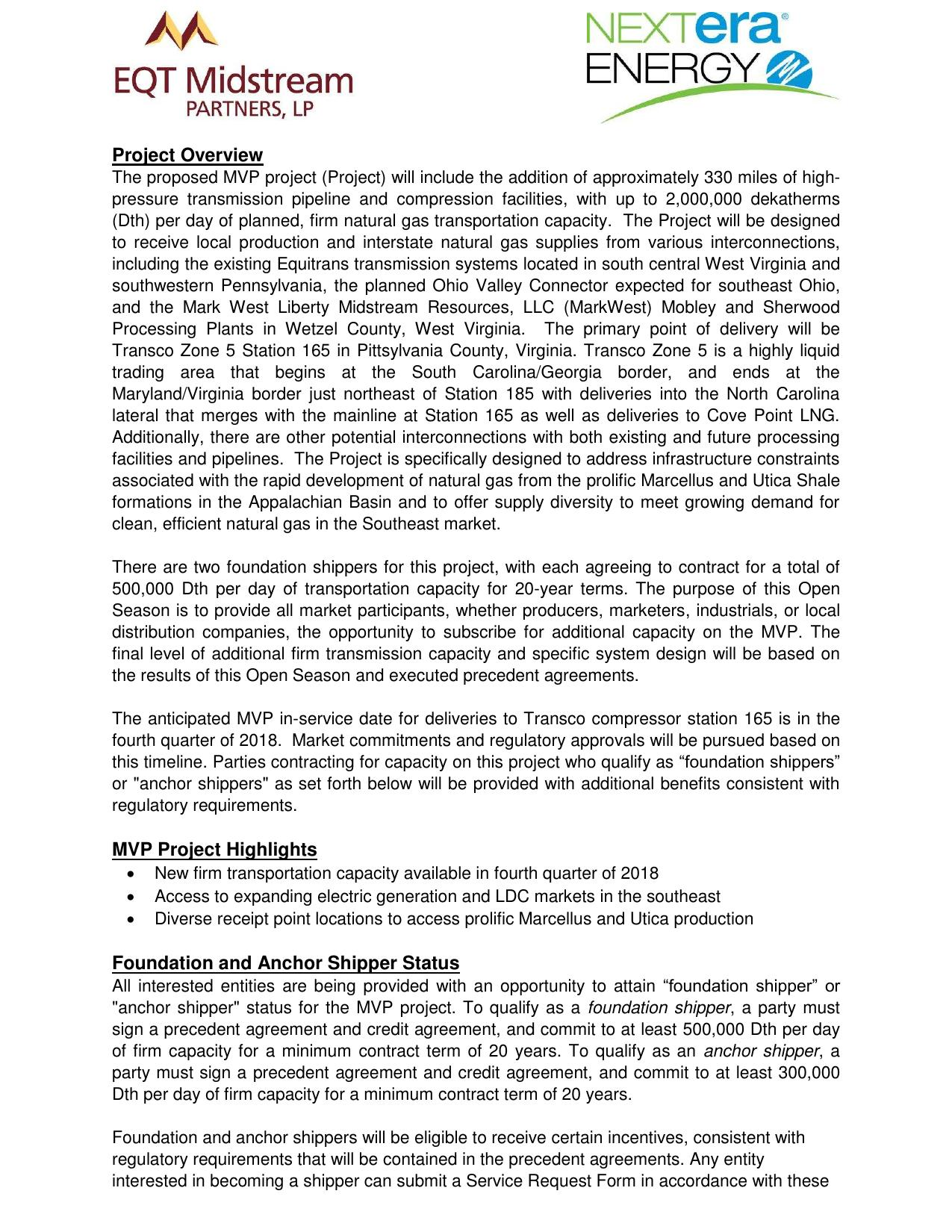 1275x1650 Project Overview, in Mountain Valley Pipeline Non-binding Open Season, by EQT Midstream Partners, LLP and NextEra Energy, for SpectraBusters.org, 12 June 2014