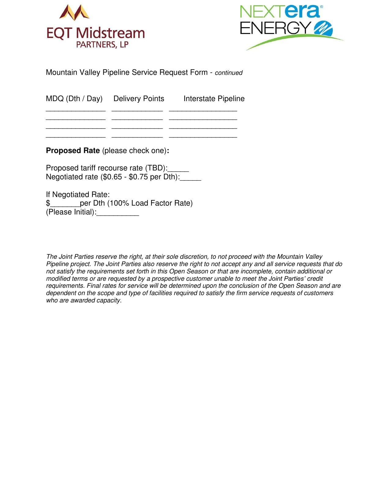 1275x1650 MVP Service Request Form (2 of 2), in Mountain Valley Pipeline Non-binding Open Season, by EQT Midstream Partners, LLP and NextEra Energy, for SpectraBusters.org, 12 June 2014