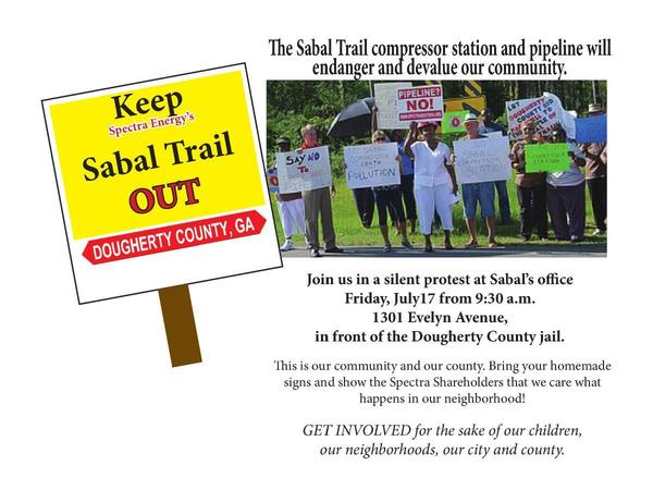 600x450 Silent Protest at Sabal Trail office, in Silent Protest to Keep Sabal Trail out of Dougherty County, GA, by John S. Quarterman, for SpectraBusters.org, 17 July 2015
