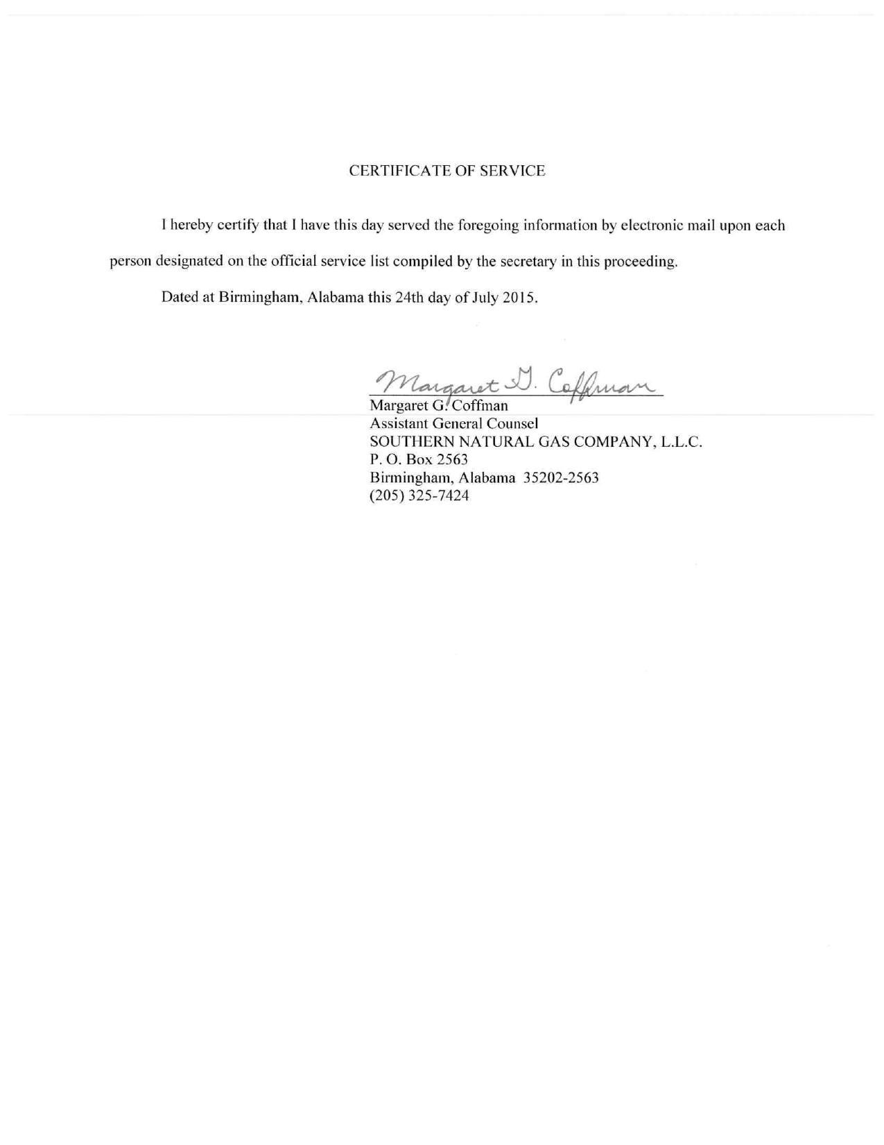 1275x1650 Certificate of Service, in Sabal Trail is proposiong an excessive number of crossings, by Southern Natural Gas, for SpectraBusters.org, 24 July 2015