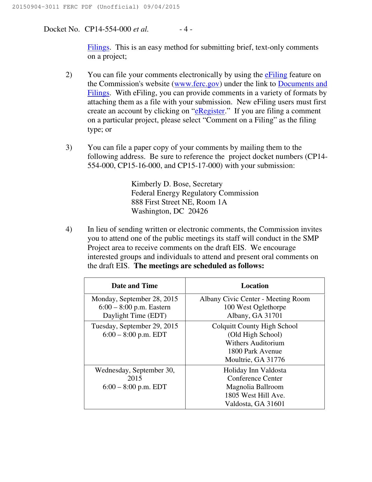 1275x1650 Meeting schedule, in Notice of Availability of Draft Environmental Impact Statement, by FERC, for SpectraBusters.org, 4 September 2015