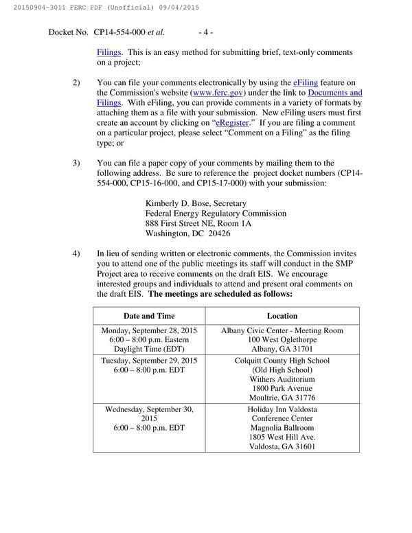 600x776 Meeting schedule, in Notice of Availability of Draft Environmental Impact Statement, by FERC, for SpectraBusters.org, 4 September 2015