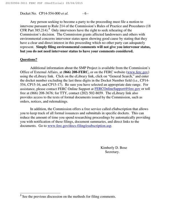 600x776 Motions to intervene, in Notice of Availability of Draft Environmental Impact Statement, by FERC, for SpectraBusters.org, 4 September 2015