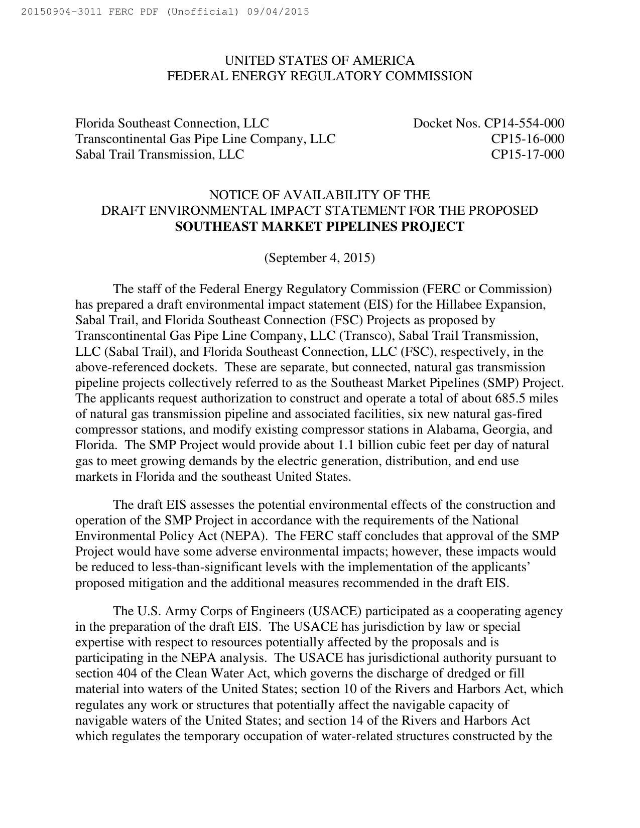 1275x1650 Notice, NEPA, USACE, in Notice of Availability of Draft Environmental Impact Statement, by FERC, for SpectraBusters.org, 4 September 2015