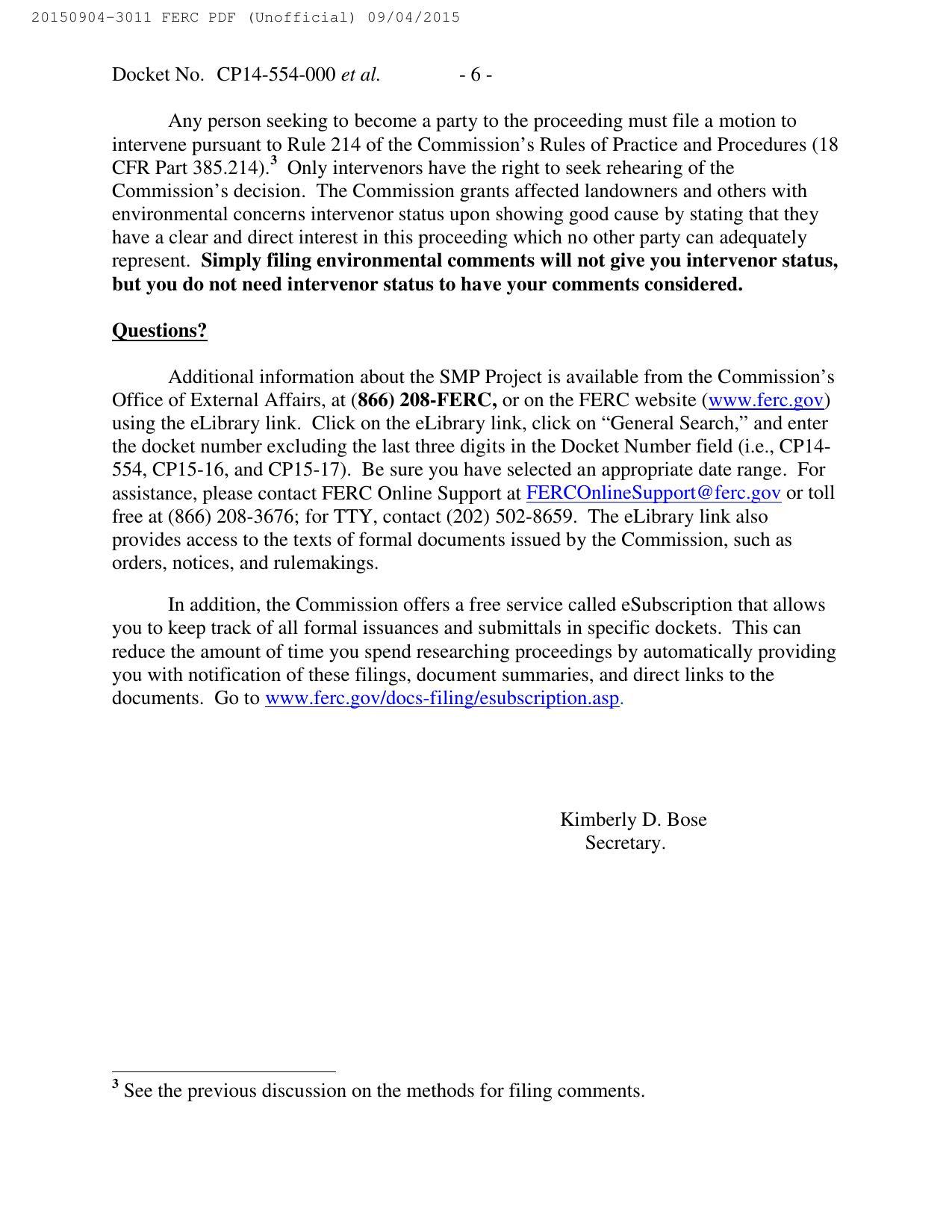 1275x1650 Motions to intervene, in Notice of Availability of Draft Environmental Impact Statement, by FERC, for SpectraBusters.org, 4 September 2015
