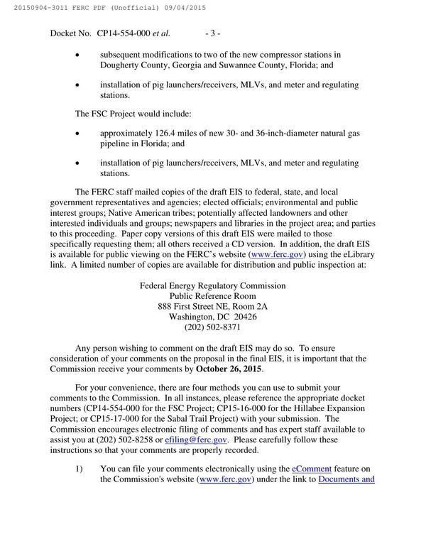 600x776 How to comment, in Notice of Availability of Draft Environmental Impact Statement, by FERC, for SpectraBusters.org, 4 September 2015