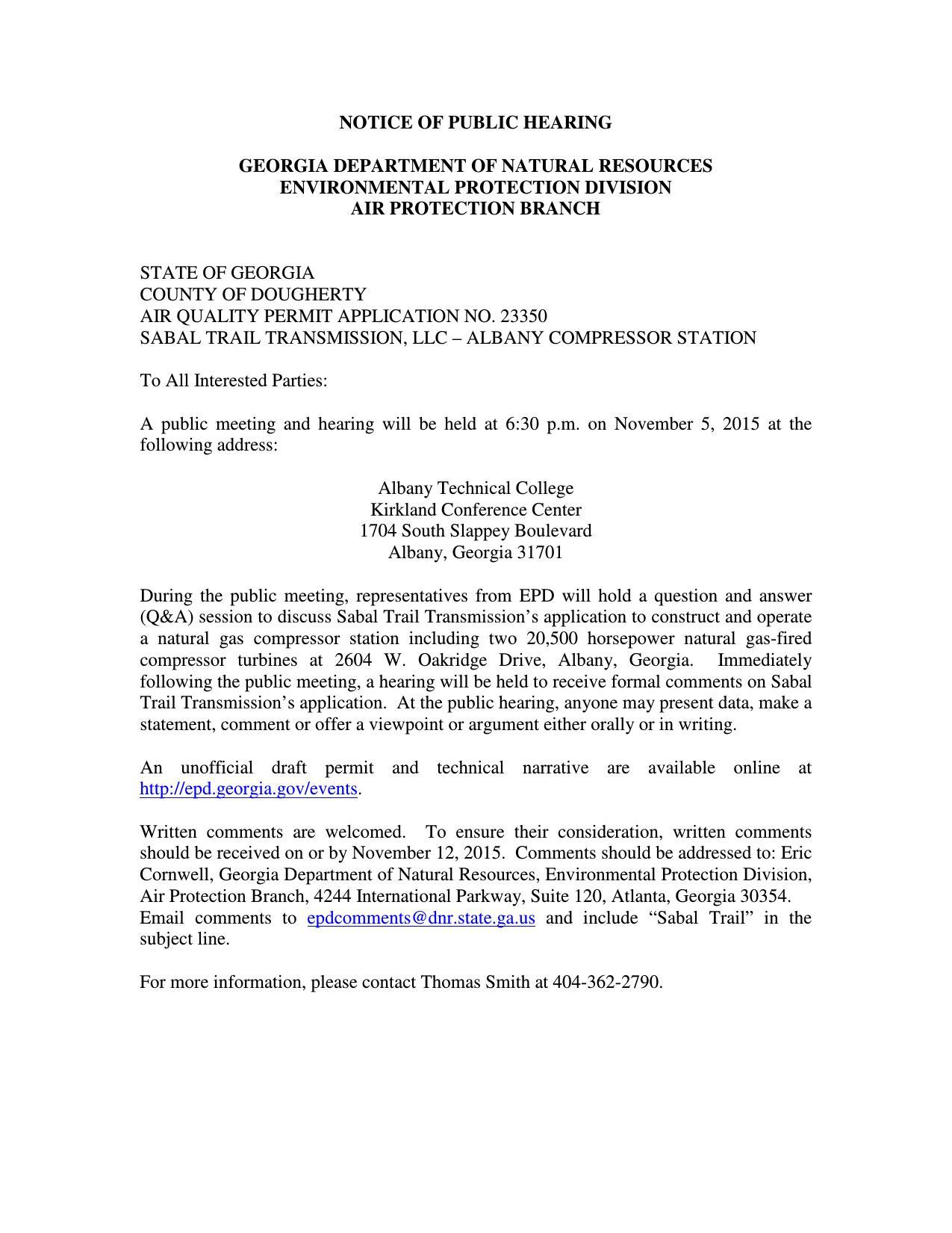 1275x1650 Notice, in Public Hearing, Albany Compressor Station, by GA-EPD, for SpectraBusters.org, 5 November 2015