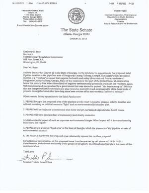 Letter to FERC